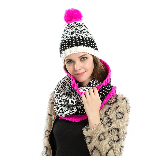 New Snow Pattern Hat Scarf Set Knit Winter Hats Bonnet Women Beanies Gorro Patch Ring Collar Wrap Scarves Two Pieces SetsDM#6