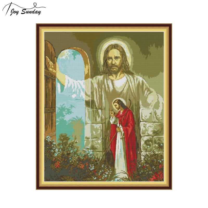 Joy Sunday Cross Stitch Fabric Religious Figure Patterns Aida Counted Cross Stitch DMC Printed Canvas Embroidery Needlework Kits in Package from Home Garden