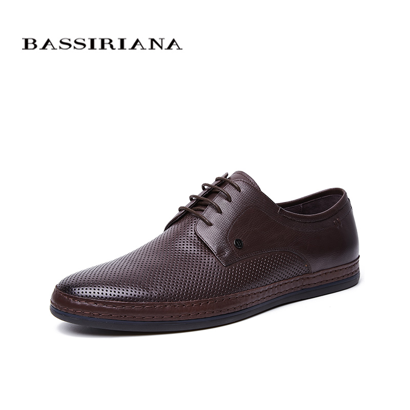 BASSIRIANA New 2018 Genuine cow Leather men casual shoes Breathable lace up brown spring autumn summer 39-45 size handmade ege brand handmade genuine leather spring shoes lace up breathable men casual shoes new fashion designer red flat male shoes
