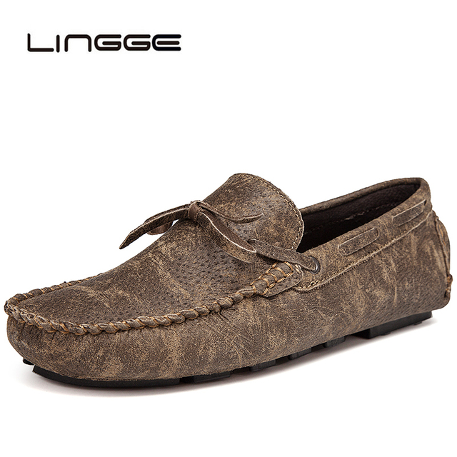 8f822acb5 LINGGE Men Split Leather Casual Lazy Shoes Male Loafers Luxury Brand  Italian Fashion Designer Moccasins For