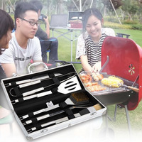 6 PCS Stainless Steel BBQ Barbecue Churrasco Cooking Cutters Brushes Knife Fork Tongs Shovel Oil Brush