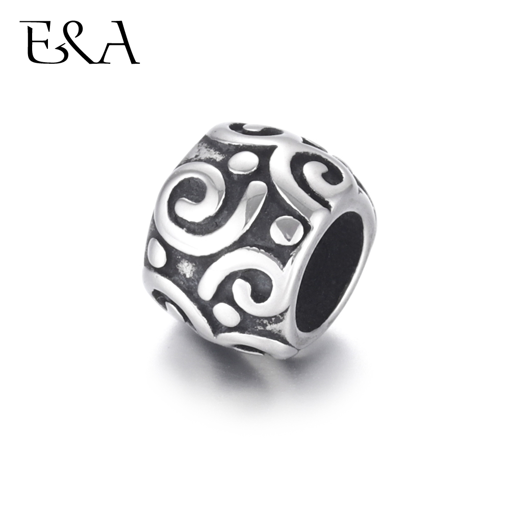 Stainless Steel Beads Squiggle 5 5mm Hole Metal European Bead for Bracelet Making Supplies Handmade DIY Jewelry Components in Beads from Jewelry Accessories