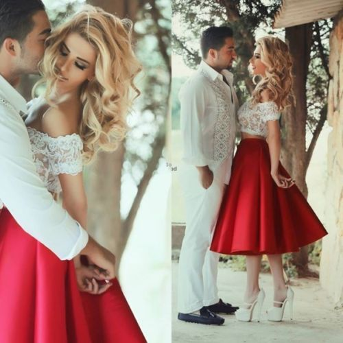 2016 Newest Red And White Beach Wedding Dresses 2 Piece Tea Length Off Shoulder Lace
