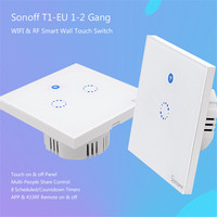 Sonoff T1 EU Smart WiFi RF433 Remote Wall Touch Switch 1 Gang 2 Gang Crystal Glass