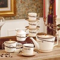 Костяной фарфор кофейный набор кофейник сливочник сахарница кофейные чашки блюдца чайный набор кофейные кружки Набор кружек для чая чайни
