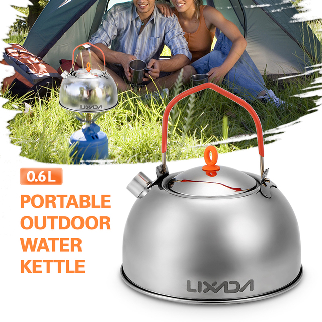 0.6L Stainless Steel Tea Kettle Portable Outdoor Camping Hiking Water Kettle Teapot Coffee Pot Outdoor Tableware