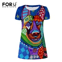 FORUDESIGNS Vintage Painting Animal Beach Dresses Elastic Casual O Neck Short Sleeve T Shirt Knee Straight
