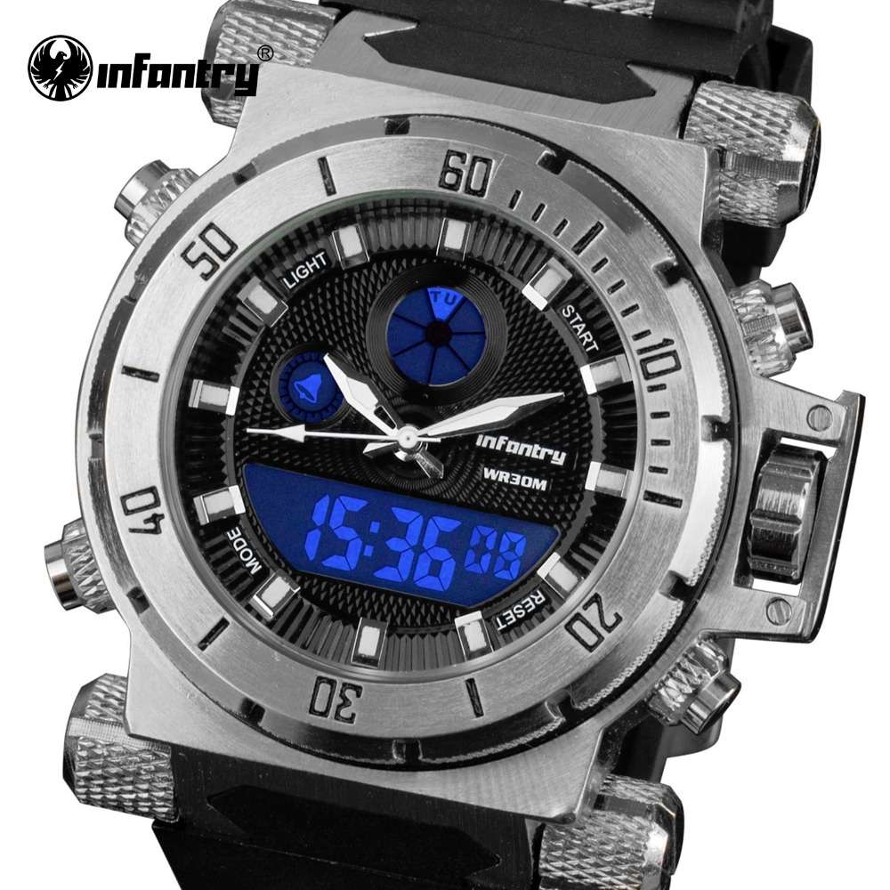 INFANTRY Men Watches Waterproof Luxury Dual Time Quartz Digital Relogio Masculino Rubber Strap Military Big Dial Clocks