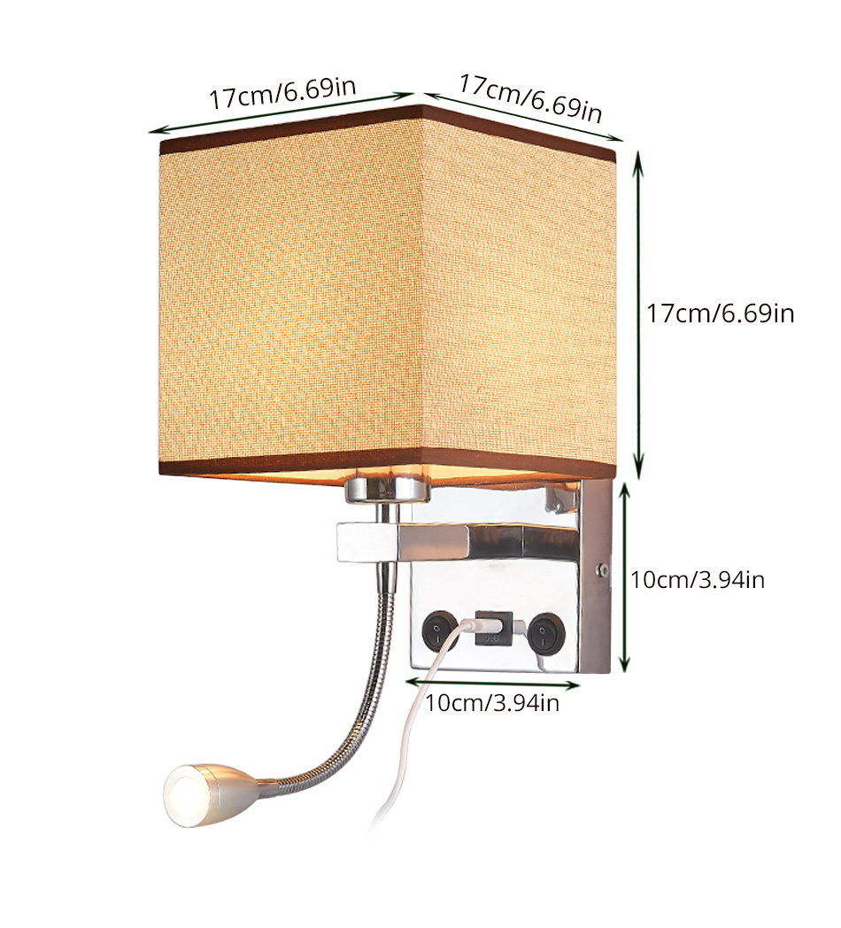 Modern Indoor LED Wall Lamp Bedside Bedroom Applique Sconce With Switch USB E27 Bulb Interior Headboard Home Hotel Wall Lights (8)