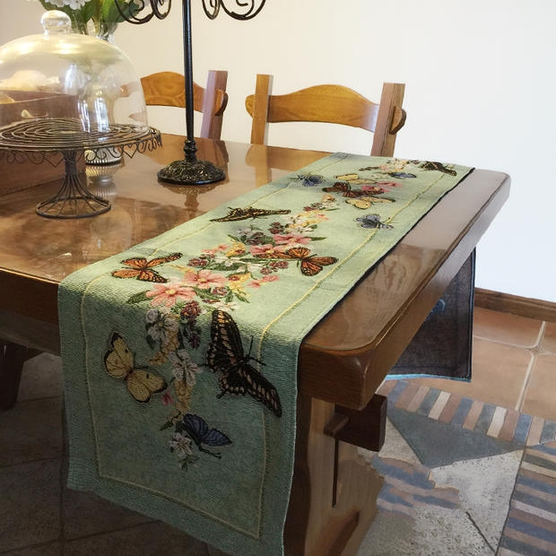 Fashion table runner Mediterranean Vintage Style Colorful flower butterfly Table flag Placemat Tea table cover towel
