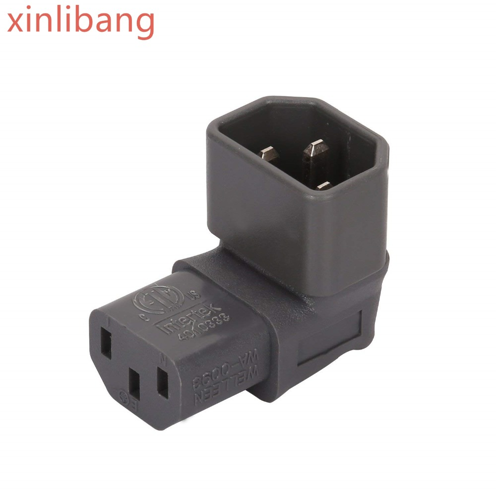IEC 320 C14 To C13 Right Angle AC Adapter,  IEC 3Pole Male To Female 90Degree Down Angle AC Converter