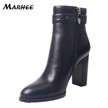 Booties Mulher 2018 9 MARHEE cm Saltos Ankle Boots Pele de Carneiro com Praça de Salto Alto Tiras No Tornozelo Moda Bota Feminina Decoração /54/58