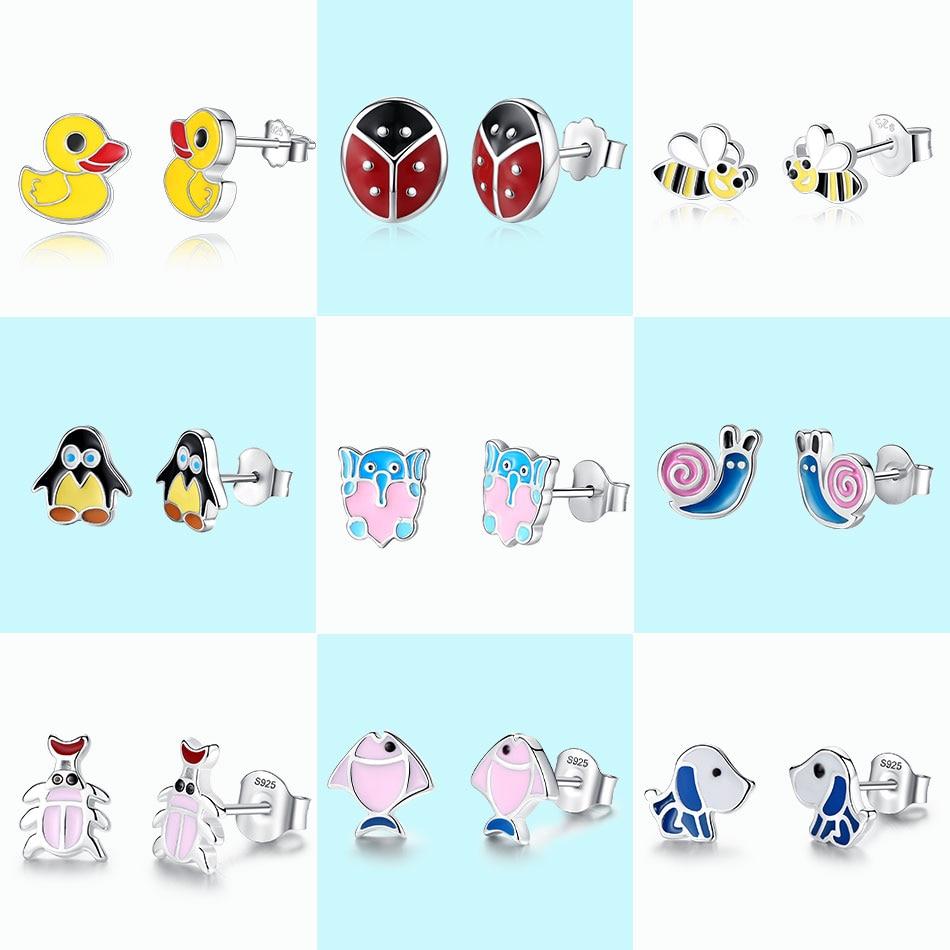 Beilawang 100% 925 Sterling Silver Stud Earrings For Children Girl Honey Bee Duck Enamel Kids Earrings Fashion Jewelry Profit Small