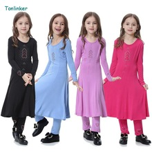 tonlinker Traditional Kids clothing Fashion Child baya Muslim Girl dresses and abaya islamic big girl Children 2pcs dress+pant