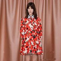 Xf 2018 الصيف مصمم الأزياء المدرج عالية الجودة اللباس إمرأة التلبيب حزام الطباعة الطباعة مطوي البوهيمي فستان أحمر