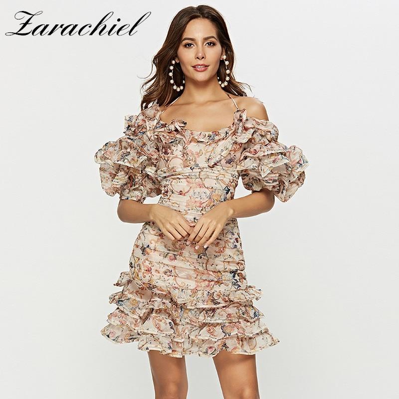 2019 Summer Sexy Halter Off Shoulder Mini Organza Dress Women Lantern Sleeve Backless Flower Print Ruffles