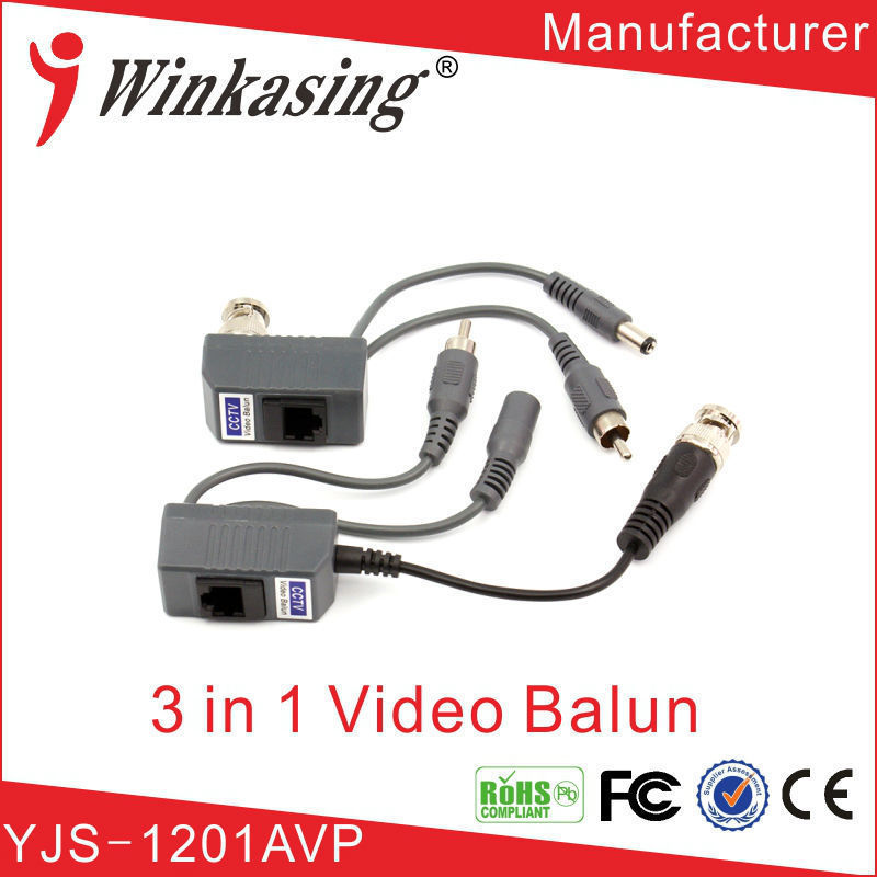 5Pairs free shipping Hot sale   3 in one video balun twisted pair transmitter  passive video balun for CCTV BNC balun