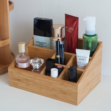 Bamboo Office Stationary Storage Box Eco Natural Wood Desk Organizer 6 Slots Multi-Use Remoter/Sundries/Cosmectis Holders