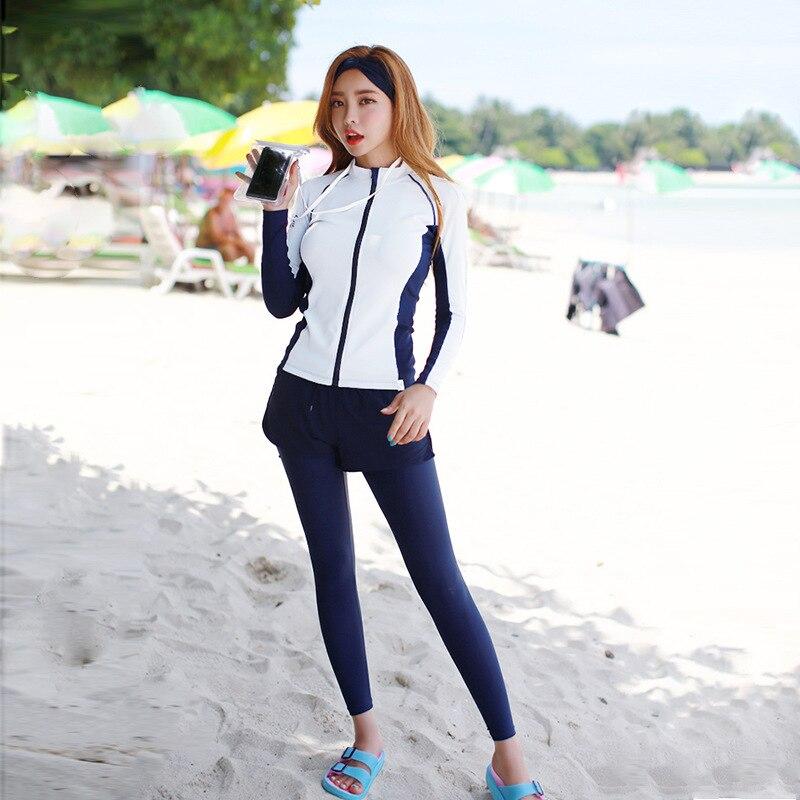 Women's Zip Front Long Sleeve Rash Guard Set of 4 Piece Zipper Shirt & Leggings Trunks Sun Protection Full Rashguards Swimsuit
