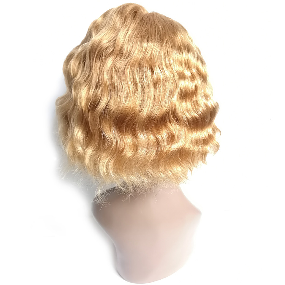 LADYSTAR Remy Hair Wigs T-Shape Lace Shrot Bob Curly Wigs 150% Density Wig Right Part Hand Made Blonde Color Wigs For Women