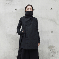 [EAM] 2019  New Fashion Winter Stand Lead Irregular Long Type Cotton-padded Clothes Loose Coat Solid Black Jacket Woman YA771 2