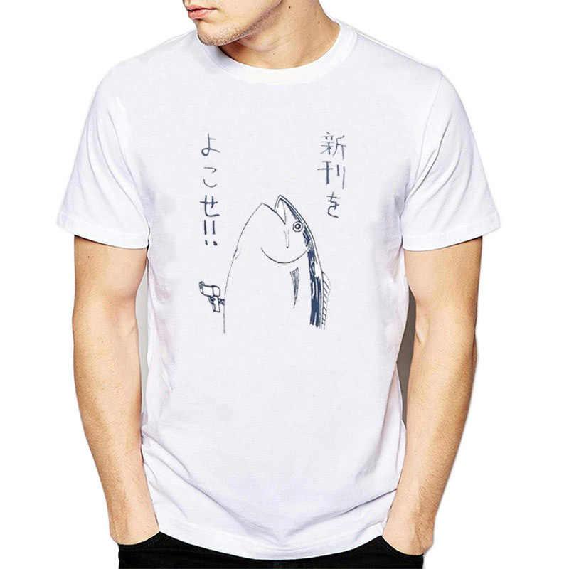 6fc7745b1176 Fishing Clothing Japanese Style Harajuku Kawaii T Shirt Basic Pattern Japan  Pop T-shirt Men
