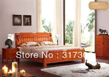Factory wholesale solid wood double bed, modern design, bedroom furniture solid wood bed- stand H8001