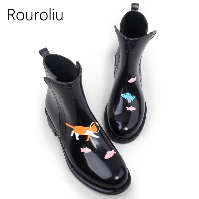 Rouroliu Fashion PVC Ankle Rain Boots Women Female Waterproof Cartoon Animals Rainboots Water Shoes Woman Wellies TR114
