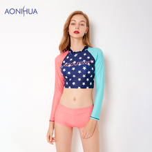 AONIHUA Long Sleeve Swim Wear Star Pattern Stitching Color Sport Bodysuit Waterproof Swimsuit Bathing Suit