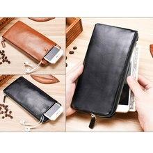 2019 Men Leather Wallet Designer Retro PU Handbag Quality for Business Men Soft Clutch Bag Long Wallet Coin Purse 8 Card Slots