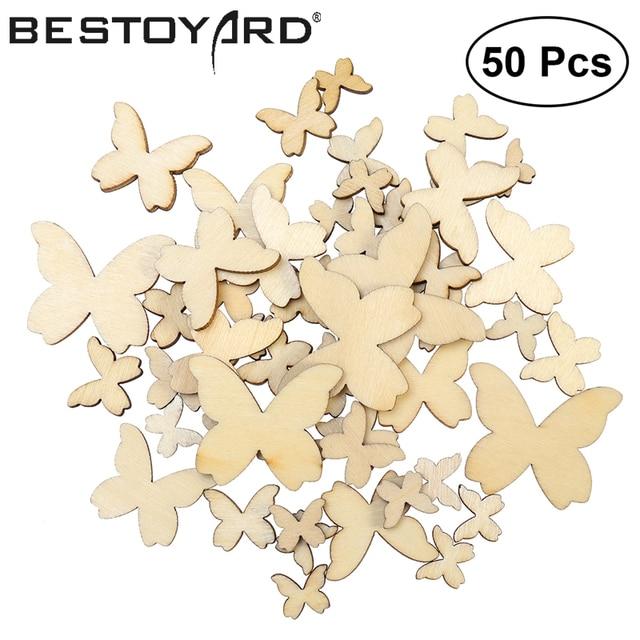 50pcs Mixed Size Wooden Butterflies Cutout MDF Wooden Craft embellishments scrapbooking Wood Art Wedding Decoration