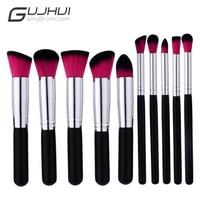 GUJHUI 10PCS Make Up Foundation Eyebrow Eyeliner Blush Cosmetic Concealer Brushes Eye Shadow Applicator