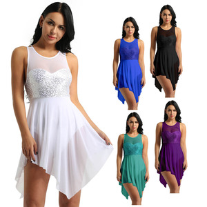 Image 2 - TiaoBug trajes de baile lírico de lentejuelas para mujer, malla asimétrica, tutú de Ballet, vestido de baile, gimnasia para adultos, leotardo