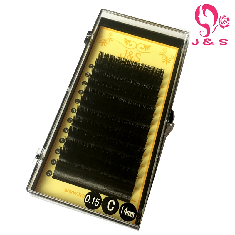J & S Free shipping 1pcs/lot 0.15mm ellipse lash flat eyelash extension 8-14mm all size available