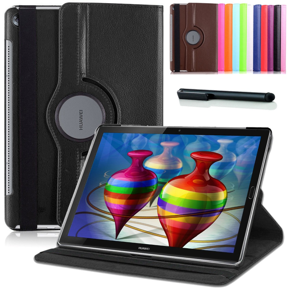 Smart Case for Huawei MediaPad M5 10.8 360 Rotating PU Leather Case Flip Cover for Huawei M5 Pro 10.8 Tablet Fundas Case+Pen