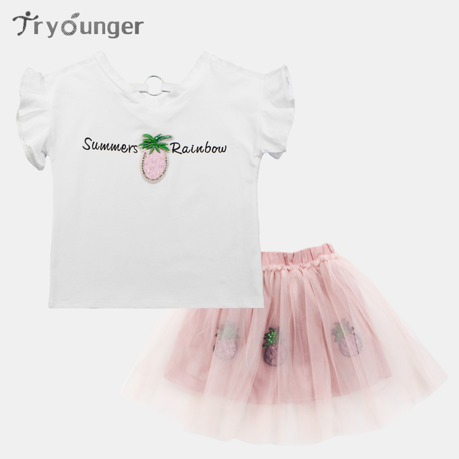 Tryounger Girls Summer Suit Letter Set Clothes For Girls White Shirt+Tutu Skirt Teen Clothing For Girls 3 4 6 8 10 12 13 Years summer kids clothes suit for girls 3 13 years children army green cotton shirt clothing set boys girls clothing sport suit 174b