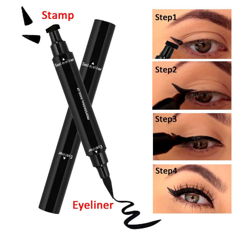 New Sexy Selo Selo Cabeça Dupla forma de asa Negra Delineador Delineador À Prova D' Água Lápis de Olho de Gato Maquiagem Cosméticos Ferramenta Maquiagem
