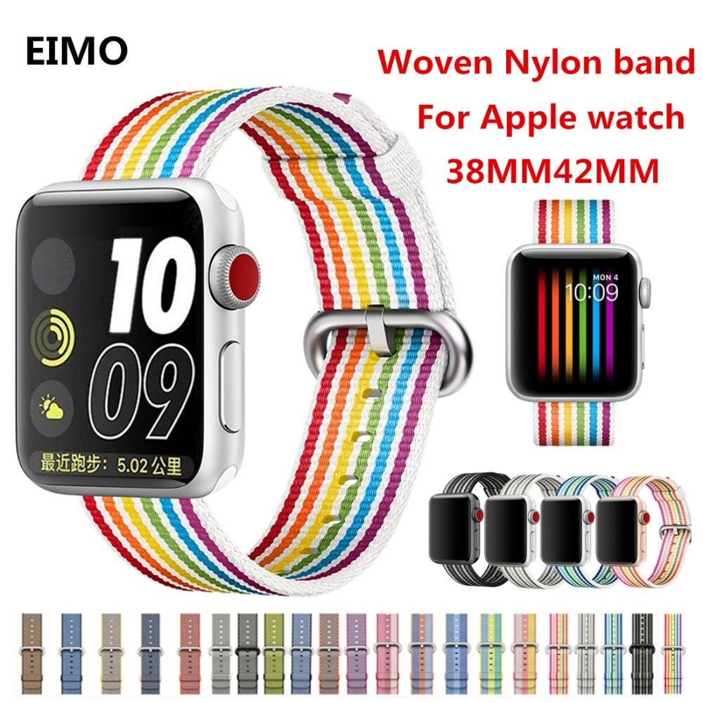 Sport Tissé sangle En Nylon Pour Apple Montre bande 38mm 42mm iwatch bande tissu-comme bracelet poignet ceinture bracelet 3/2/1 Accessoires