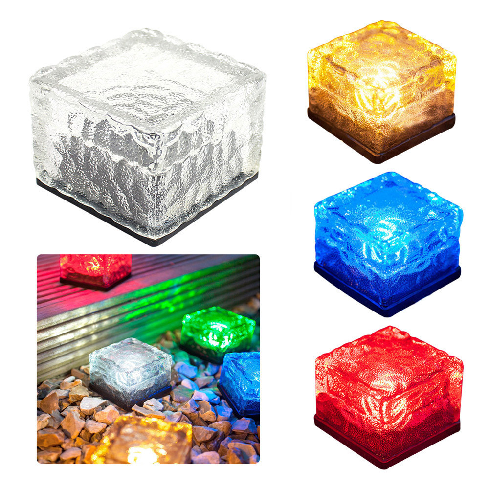 New Fashion Hot Sale Waterproof Solar Power Led Color Changing Ice Cube Crystal Glass Outdoor Brick Lights Perfect For Garden Decoration Outdoor Tools