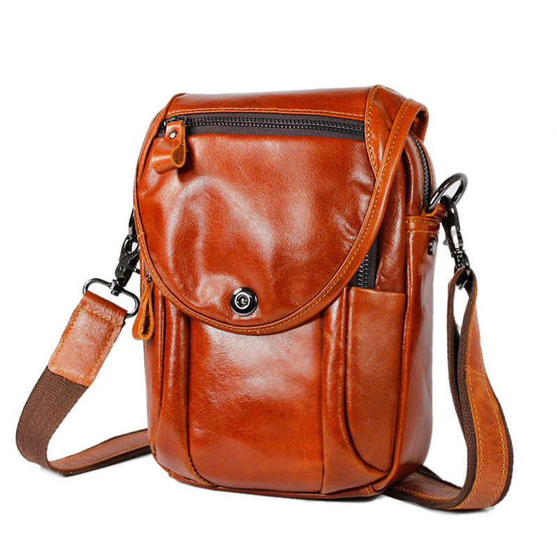 woman mens orange geniune cowhide leather fashion chic casual crossbody Shoulder messenger flap pad wallet purse Bags money hold