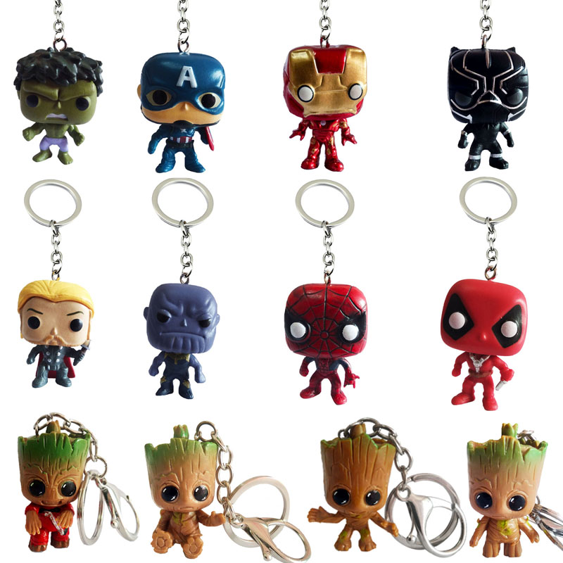 Marvel superhero captain America thor iron spider man keychain thanos hulk Black Panther Deadpool keyring key chains pendant