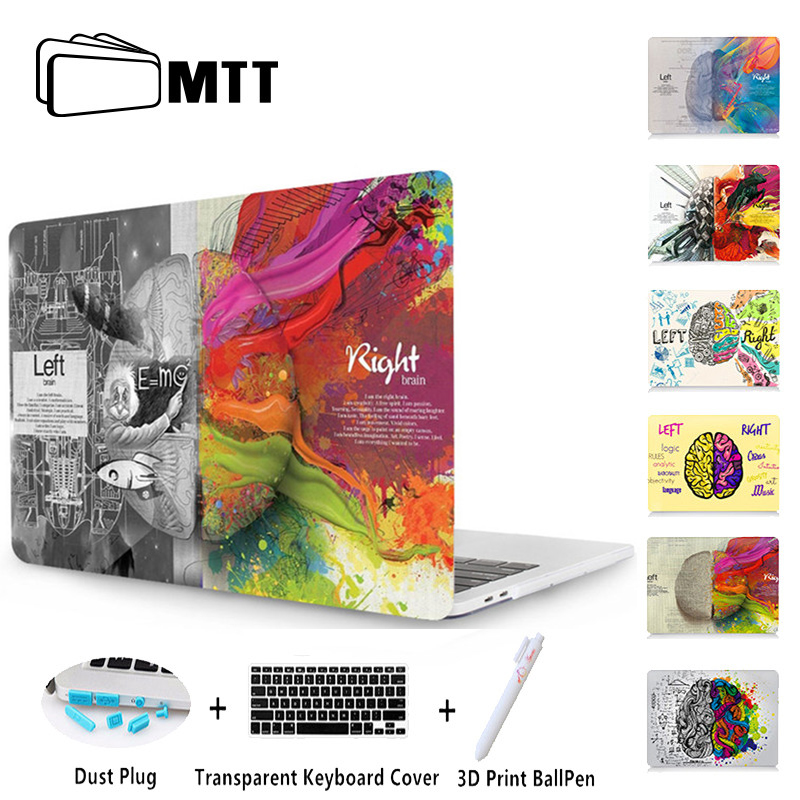 MTT Left Right Brain Case For Apple Macbook Air 11 13 Pro Retina 13 15 With Touch Bar New 12 inch Laptop Sleeve +Keyboard Cover crystal case for apple macbook air 13 3 11 pro 13 12 15 retina laptop print cover 2016 2017 new touch bar model keyboard cover