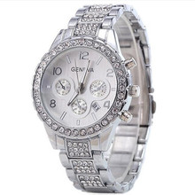 Hot ladies watch diamond-studded steel calendar high-grade Arabic digital rhinestone scale gold silver rose