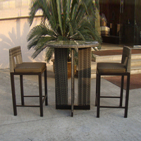 3pcs Rattan Bar Set , Outdoor Garden Table And Chairs