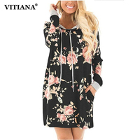 VITIANA Women Long Hoodies Sweatshirts Dresses Female 2017 Autumn Long Sleeve Black Floral Print Loose Casual