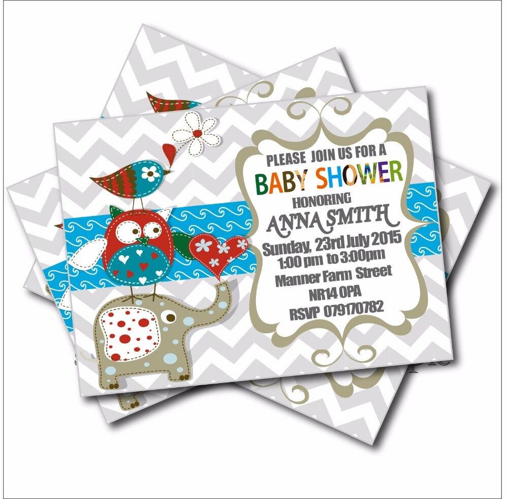 4 9 40 De Descuento 14 Piunids Lote Personalizado Elefante Cumpleaños Invitaciones Baby Shower Invitaciones Vintage Búho Cumpleaños Fiesta