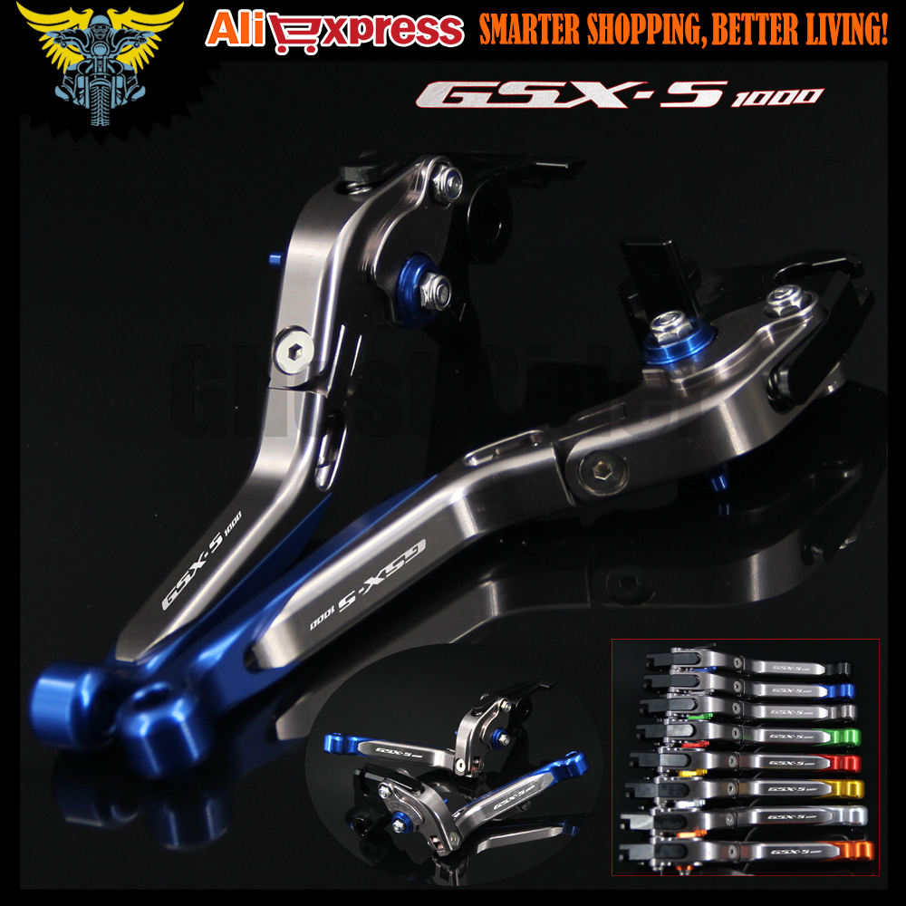 Laser Logo(GSX-S1000) Blue+Titanium CNC Folding Extendable Motorcycle Brake Clutch Levers For Suzuki GSX-S1000/F/ABS 2015 2016 for suzuki gsx s1000f gsx s1000 2015 2016 motorcycle accessories short brake clutch levers logo gsx s1000 blue