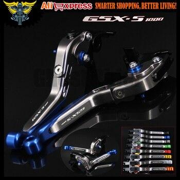 Laser Logo GSX S1000 Blue Titanium CNC Folding Extendable Motorcycle Brake Clutch Levers For Suzuki GSX