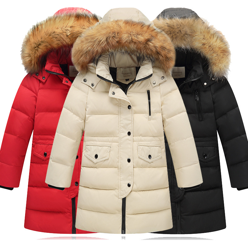 FTLZZ Winter Boys Girls Down Long Jacket 2018 Children Button Hooded Thickening Warm Coats Boys Big Fur Collar Outerwear intex спортивных очков для плавания