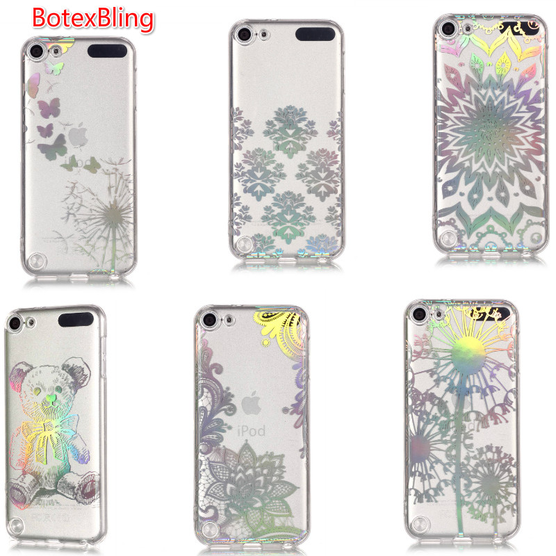 BotexBling luxury Laser lace flower transparent IMD cute bear silicone phone case for ipod touch5 touch6 cover touch 5 6 capa
